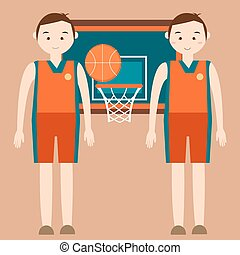 basketball player standing in front of basket ring with behind vector flat illustration