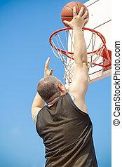 Basketball player throw the ball