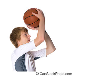 Basketball player throws in the ring