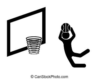 basketball player with a ball in his hands in a jump scores a goal in the basket. Active sports. Isolated vector on white background