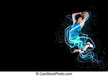 Basketball player with a ball