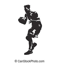 Basketball player with ball, abstract vector silhouette