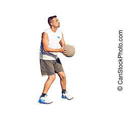 Basketball player with ball on white