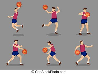 Basketball player with Basketball - Set of six poses of a...