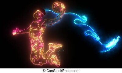 Basketball player with flames digital video