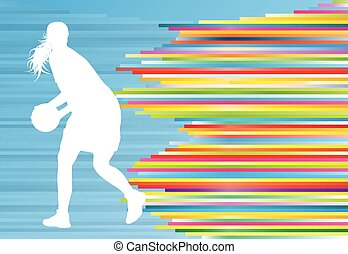Basketball player woman silhouette vector abstract background illustration