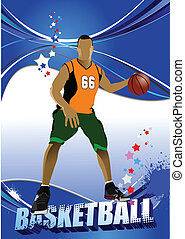 Basketball players. Colored Vector