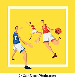 Basketball players in abstract flat style. Men playing with a basketball ball. Template for sport poster. Vector illustration, isolated on white background.