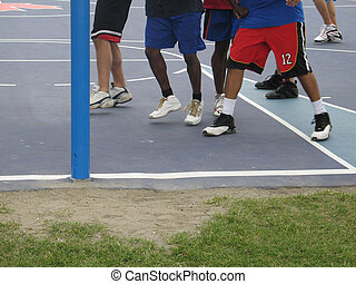 basketball players on a court