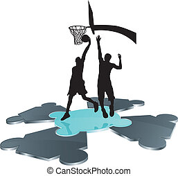 basketball players on puzzle field - basketball players...