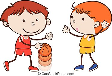 Basketball Players on White Background