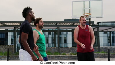 Basketball players playing with basket ball 4k - Front view ...
