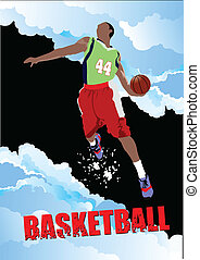 Basketball players poster. Colored
