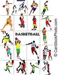 Basketball players poster. Colored Vector illustration for...