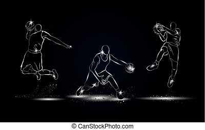Basketball players set. Metallic linearbasketball player illustration for sport banner, background and flyer.