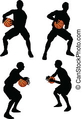 basketball players silhouette collection in hold position