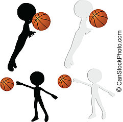 basketball players silhouette collection in block position