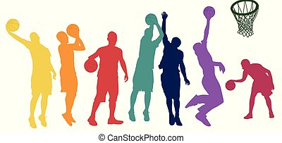 Basketball players silhouette in different positions and colors