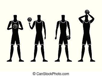 Basketball players silhouettes vector illustration.