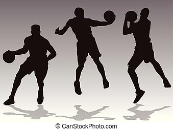 basketball players slam dunk silhouette