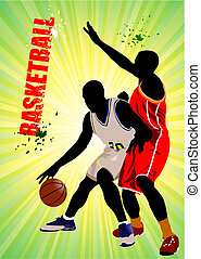 Basketball players. Vector illustr