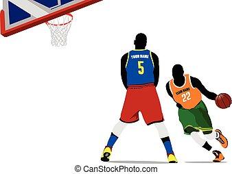 Basketball players. Vector illustra