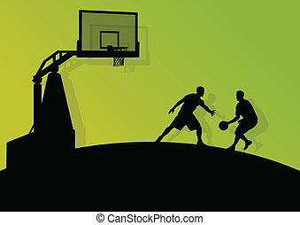 Basketball players young active sport silhouettes vector...