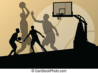 Basketball players young active sport silhouettes vector background illustration for poster