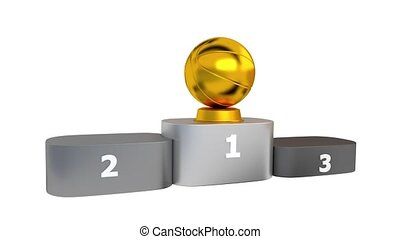Basketball Podium with Gold Silver and Bronze Trophy Appearing