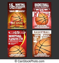 Basketball Poster Set Vector. Design For Sport Bar Promotion. Basketball Ball. Modern Tournament. Sport Event Announcement. Banner Advertising. Template Illustration