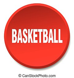 basketball red round flat isolated push button