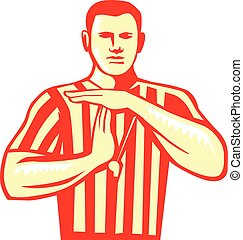 Basketball Referee Technical Foul Retro - Illustration of a...