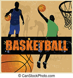 Basketball retro poster background