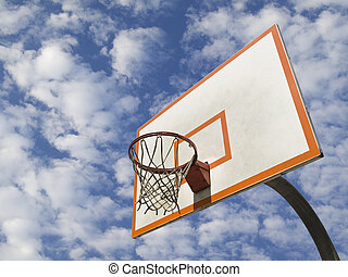 Basketball ring - A basketball ring over a blue sky with...