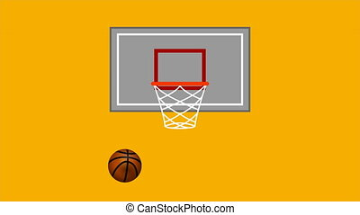 basketball ring and ball in a flat design
