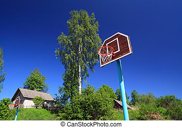 basketball ring on blue background