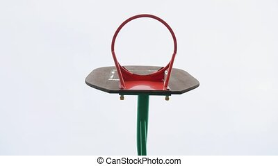 basketball ring without grid on the sky background. old basketball ring. street basketball concept sport lifestyle