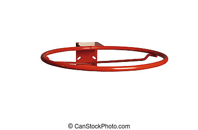 Basketball ring without net on white background