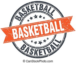 basketball round orange grungy vintage isolated stamp
