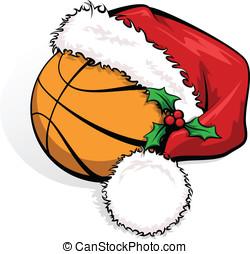 Basketball Santa Cap - Color vector illustration of a...