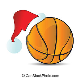 Basketball santa cap. Color vector illustration of a ...