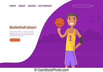 Basketball School, Academy, Sport Club Landing Page Template, Online Sports Store Web Page, Mobile App, Homepage Vector Illustration