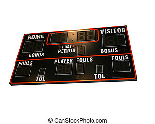 Basketball Score Board-Is - A basketball scoreboard isolated...