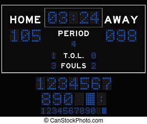 Basketball score board with blue square led on black background