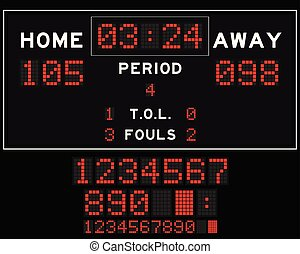 Basketball score board with red square led on black background