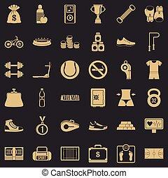 Basketball score icons set, simple style