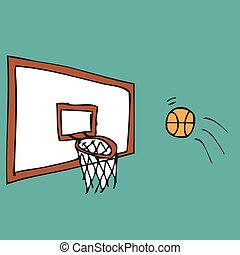 Illustration of hand drawn score shot of basketball