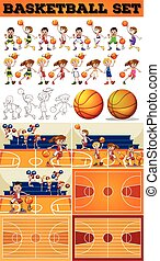 Basketball set with players and courts