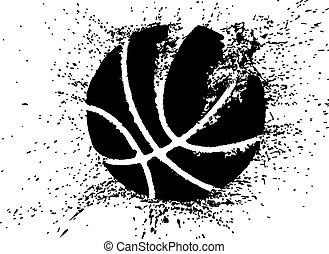 Basketball Shattering - Silhouette of a basketball...