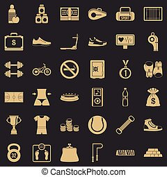 Basketball shoe icons set, simple style